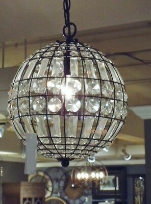 Crystal Round Mini Chandelier Pendant French Country Vintage Style Light Fixture