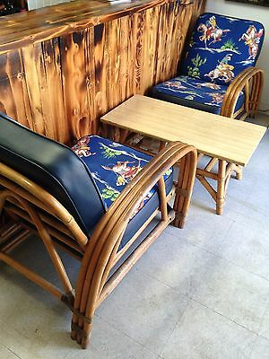 Vintage Calif-Asia Bamboo Rattan Sectional Chair Sofa with table Western Cowboy