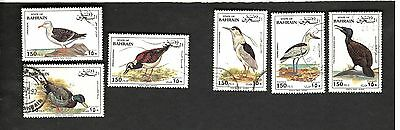 State of Bahrain SC #407c-d #407h #407j #407l-m BIRDS Θ used stamps