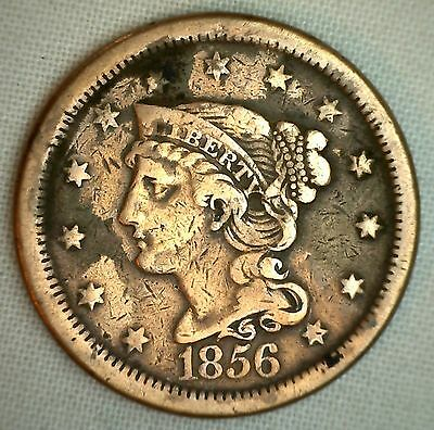 1856 Braided Hair Liberty Head Large Cent US Copper Type Coin Cleaned Cull Fine