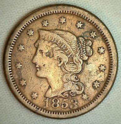 1853 Braided Hair Liberty Head Large Cent US Copper Type Coin Cleaned Cull VG