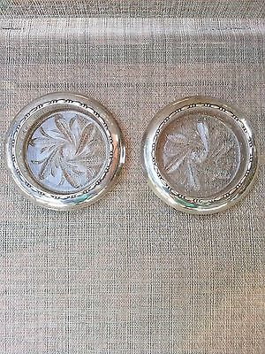 2 Vintage Amston Sterling Silver 145 Wine Bottle Coasters