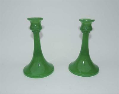 JADE GREEN Northwood Rainbow Line Opaque Stretch Glass Candlesticks Holders