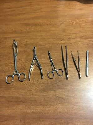 Lot of 6 Medical Surgical Lab Tools Stainless Steel Sklar