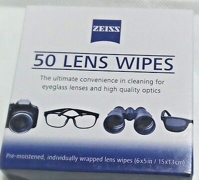 Zeiss Lens Cleaning Wipes 50 PC Pre Moistened For Eyeglass Lenes Photo Screen