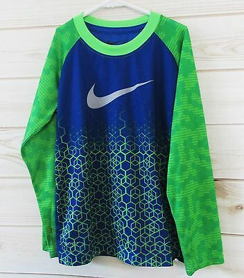 Boy's Nike Dri-Fit Shirt Long Sleeve Blue Lime Green 6 Small