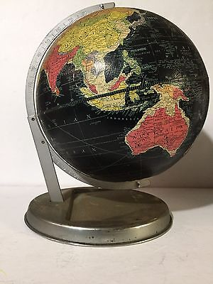 "Vtg Retro  REPLOGLE 12"" Starlight BLACK World GLOBE Black Ocean FLOATING STAND"