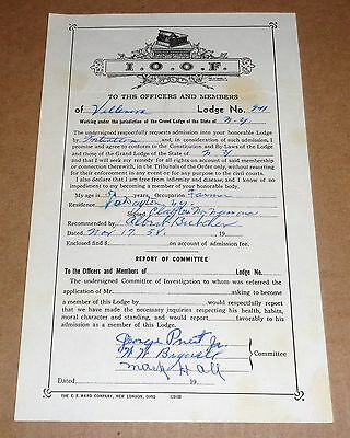 Original 1958 IOOF INDEPENDENT ORDER OF ODD FELLOWS APPLICATION FOR MEMBERSHIP