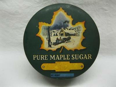 Vintage Vermont Pure Maple Sugar Syrup Tin Can Round Green Yellow Paint Old