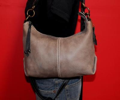 Vtg ROOTS Gray Leather Satchel Hobo Crossbody Tote Purse Shoulder Bag CANADA