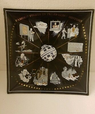Vintage  Bell Smokey Glass Advertising Plate Famous Firsts Telephone History