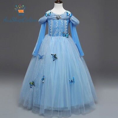 Girl Kid Cinderella Costume Birthday Party Dress Full Sleeve size 4-10 Years