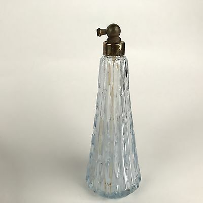 Vintage Irice Atomizer Perfume Bottle in Light Blue Ribbed Glass