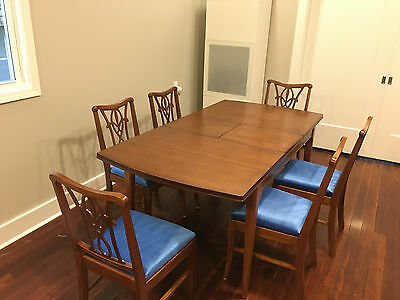 7 Pc. Mahogany Dining Set. Refinished, Reupholstered. California Vintage.