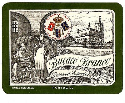 1930s BUCACO PALACE HOTEL, LUSO, PORTUGAL BUCACO BRANCO RESERVE WINE LABEL