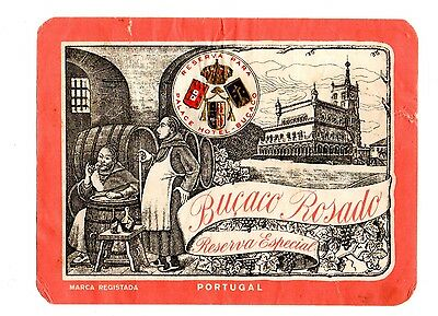 1930s BUCACO PALACE HOTEL, LUSO, PORTUGAL BUCACO ROSADO RESERVE WINE LABEL