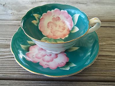Vtg SHAFFORD Japan TEAL BLUE/PINK CHERRY BLOSSOM Floral Handpainted CUP/SAUCER