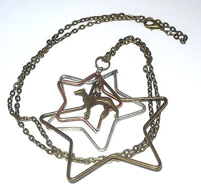 Fun and Funky 3 Stars Bronze Necklace with Bronze Greyhound Dog or Whippet Charm