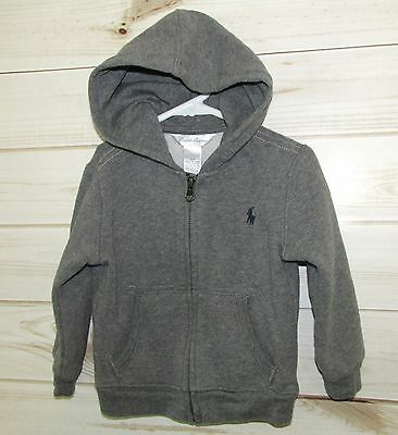 Infant Boy's Ralph Lauren Sweatshirt Hoodie Zipper Front Gray 18M