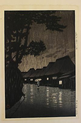 Hasui Kawase Japanese Woodblock Print Rainy Night At Maekawa.. 6Mm Seal Lifetime