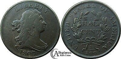 1807 1/2c Draped Bust Half Cent VF rare old type coin lovely color 1/2 c.
