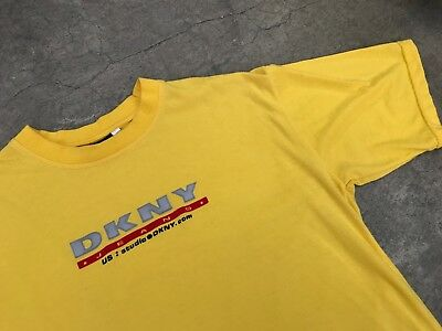 Vintage DKNY 3M Logo Yellow T-Shirt NYC Classic Kendall Jenner Sophia Richie