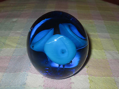 """Vintage Hand Blown Glass Paperweight. 3"""" X 3""""  And Weighs 2 Lbs.."""