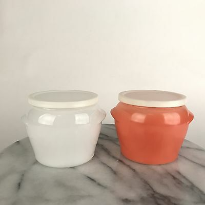 Lot 2 Vintage Glasbake Honey Pot Jar Containers Orange & White with Lids