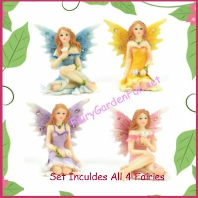 """Fairy Garden Fun 1.75"""" Pastel Shimmer Fairies With Flowers Set Of 4 Colors Mini"""