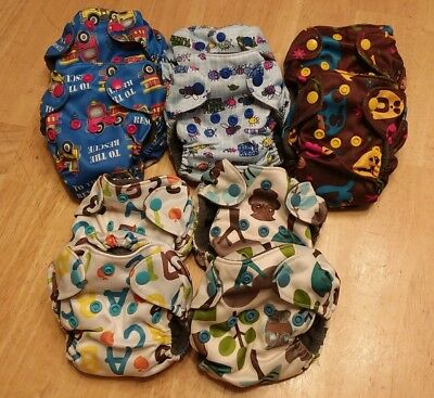 10 Newborn Baby Diapers AIO Cloth Diaper Bamboo Charcoal Double Gussets