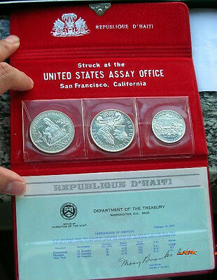 Haiti 1976 Mint Pack Set of 3 Silver Coins,Proof