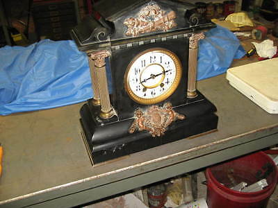 Tiffany & Co. company Antique Marble and bronze Mantle Cherub clock french