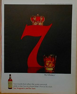 Vintage 1963 magazine ad for Seagram's Seven Whiskey - Crowned Seven & glass