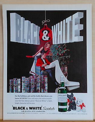 1962 magazine ad for Black & White Scotch - Christmas ad, gift boxes of B & W