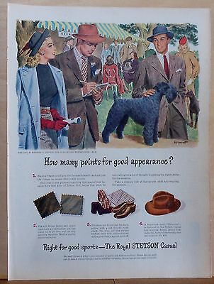1946 magazine ad for Stetson hats - dog show with Kerry Blue, Royal Stetson