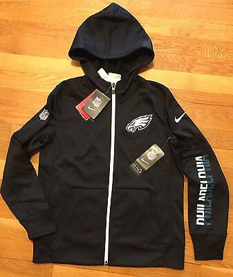 Nike Philadelphia Eagles Full Zip Hoodie Youth Medium Nwt Therma-fit Jacket