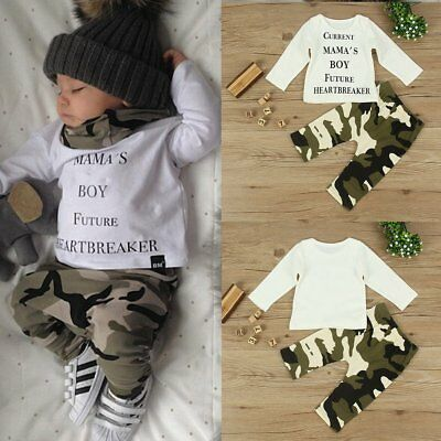 Summer 0-24M Kids Baby Boy T-shirt Tops+Camouflage Pants Outfit Clothes 2pcs Set