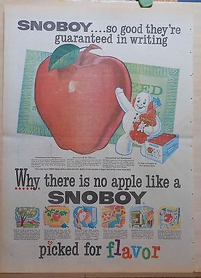 1959 full page newspaper ad for Snoboy Apples - colorful giant apple, snowman