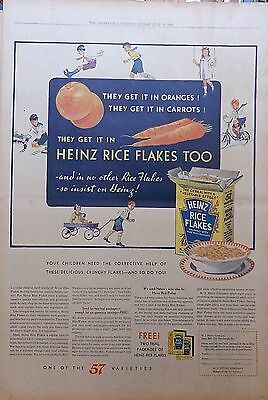 1931 Full page newspaper ad for Heinz Rice Flakes - colorful, children playing