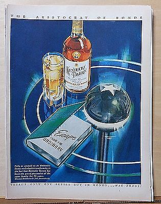 1944 magazine ad for Kentucky Tavern Whiskey, colorful futuristic table & bottle