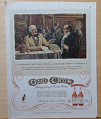 1954 magazine ad for Old Crow - Sam Houston meets Daniel Webster at O'Neale's
