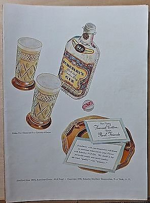 1940 magazine ad for Schenley's Gin - Golden Fitz glasses & tray by Cartier