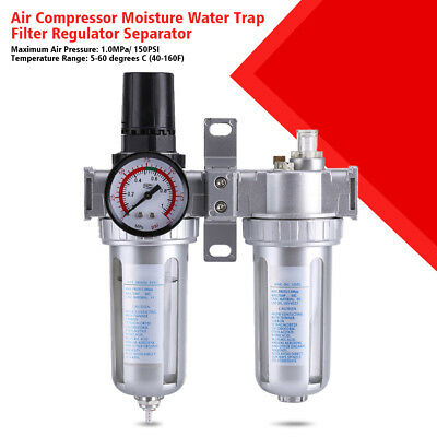 Mini Air Pressure Regulator Gauge Spray Gun & In-Line Water Trap Air Filter LY