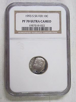 1993 S Silver Proof Roosevelt Dime - NGC PF 70 Ultra Cameo
