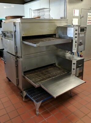LINCOLN IMPINGER CONVEYOR DOUBLESTACK PIZZA GAS OVEN Model 1200 Top, 1450 Bottom