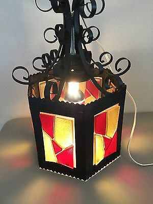 Vintage Mid Century Retro Swag Light Decorative Gothic Metal Red Yellow Glass