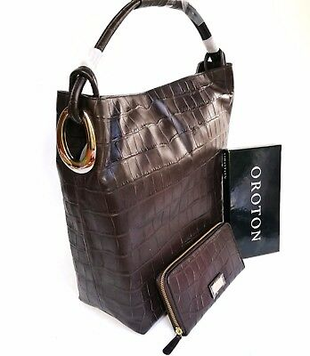 New Oroton Kiera Croc Large Shoulder Bag Handbag Wallet Leather Brown Chocolate