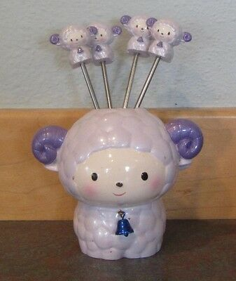 Sheep Hors D'oeuvre Forks With Sheep Holder, Cute