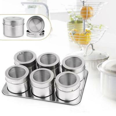 6pcs Kitchen Stainless Steel Magnetic Spice Jars Pepper Salt Sugar Shaker Bottle