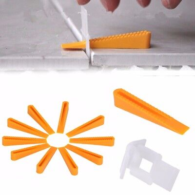 50pcs Wedge Tile Clips Flat Leveling System Wall Floor Spacers Strap Device Tool